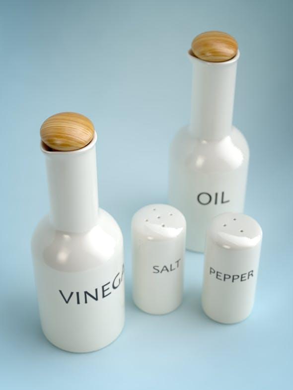 Oil, Vinegar, Salt & Pepper SET I - 3DOcean Item for Sale
