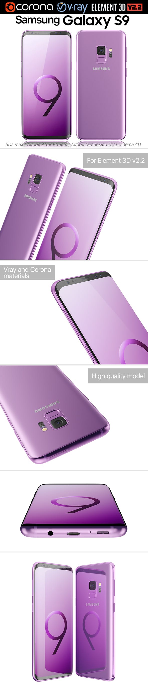 Samsung Galaxy S9 Lilac Purple - 3DOcean Item for Sale