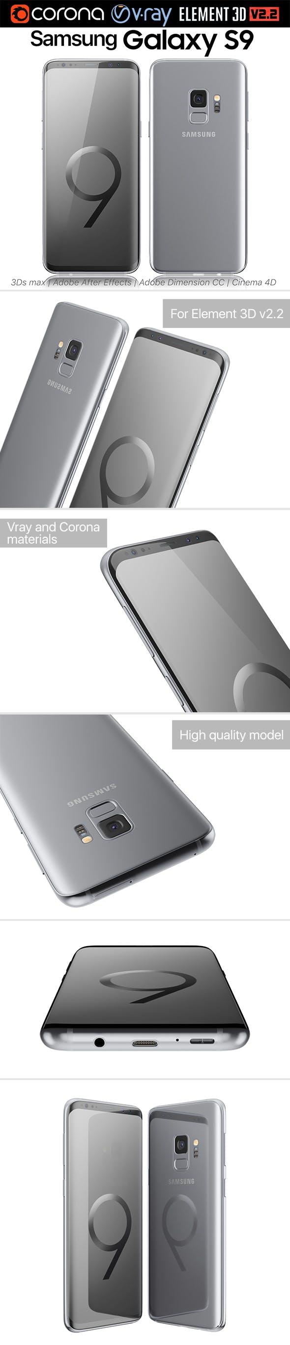 Samsung Galaxy S9 Titanium Gray - 3DOcean Item for Sale