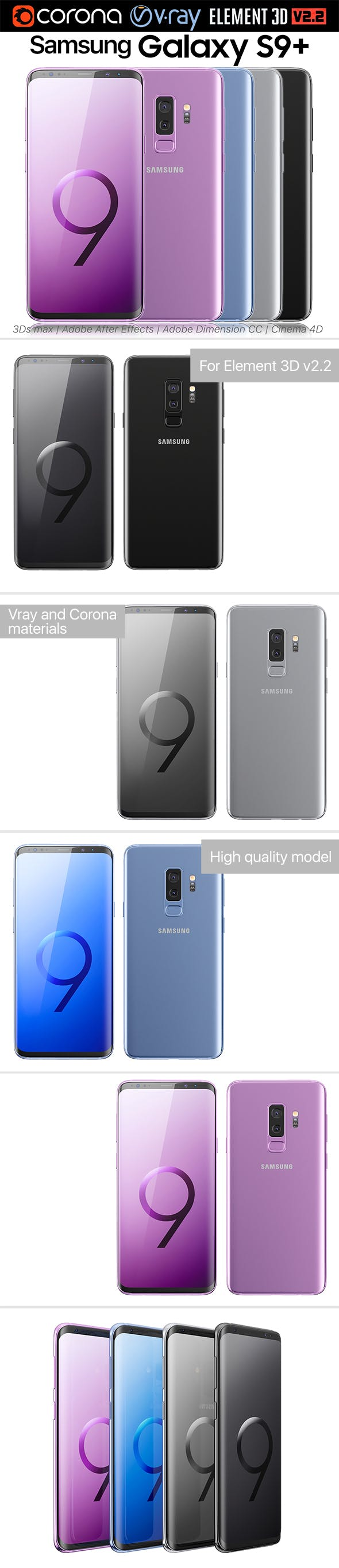 Samsung Galaxy S9 PLUS ALL Colors - 3DOcean Item for Sale