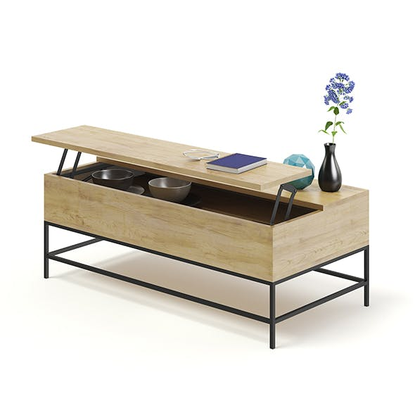 Opened Wooden Coffee Table 3D Model - 3DOcean Item for Sale