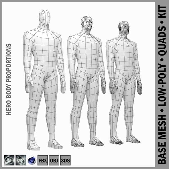 Male Hero Body Base Mesh in Rest Pose - 3DOcean Item for Sale