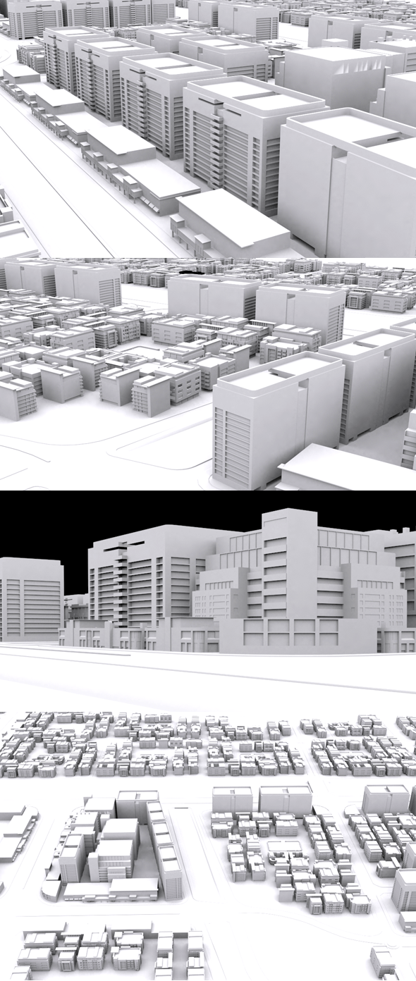 Movie City Low Poly Model - 3DOcean Item for Sale