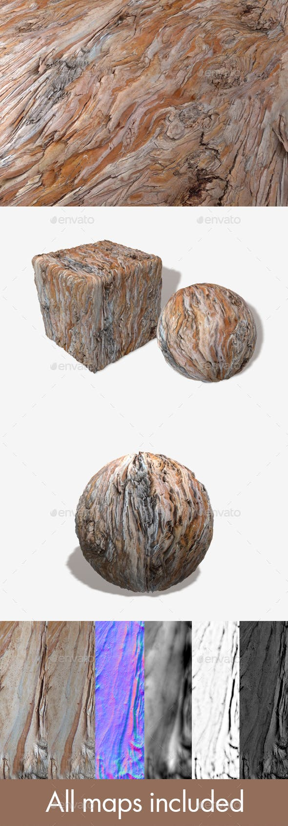 Wavy Bark 1 Seamless Texture - 3DOcean Item for Sale