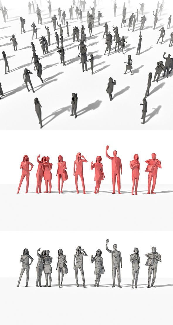 Low Poly Posed People Pack 8 - 3DOcean Item for Sale