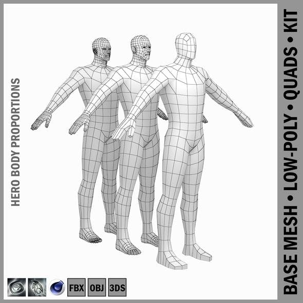 Male Hero Low Poly Base Mesh in A-Pose