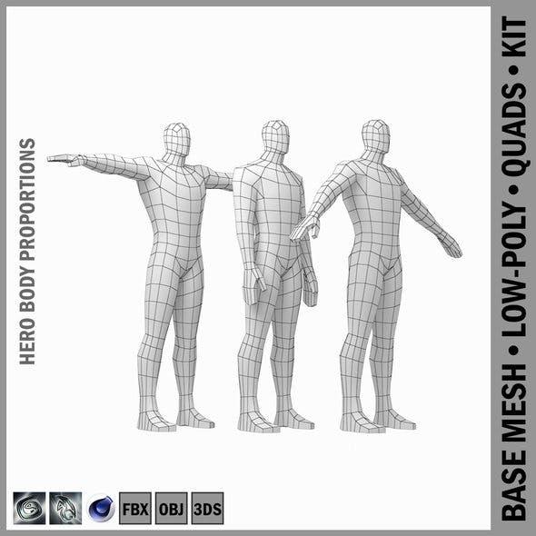Male Hero Base Mesh in Three Poses - 3DOcean Item for Sale