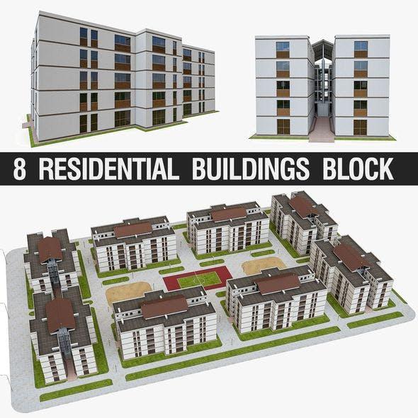 Apartment Block - 3DOcean Item for Sale