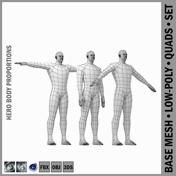 Male Hero Base Mesh with Detaied Head and Limbs in Three Poses