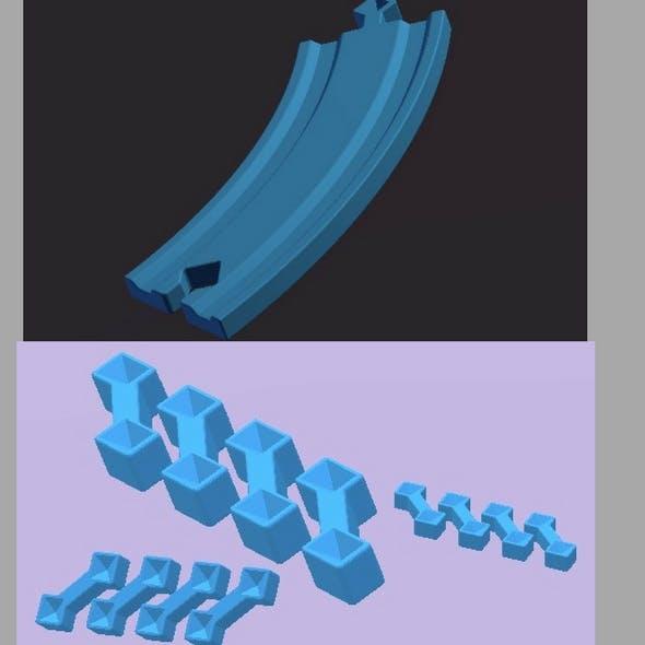 Left Curve Track & Track Connector for Designing/Building/Bridge Models