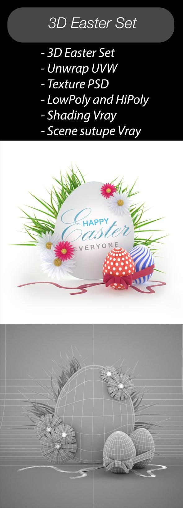 3D Easter Set - 3DOcean Item for Sale