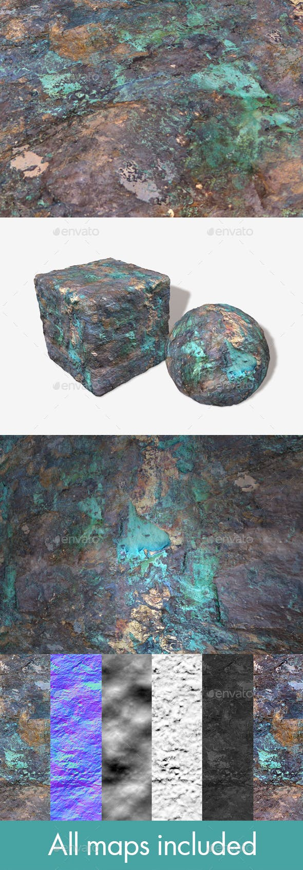 Painted Desert Green Rock Seamless Texture - 3DOcean Item for Sale