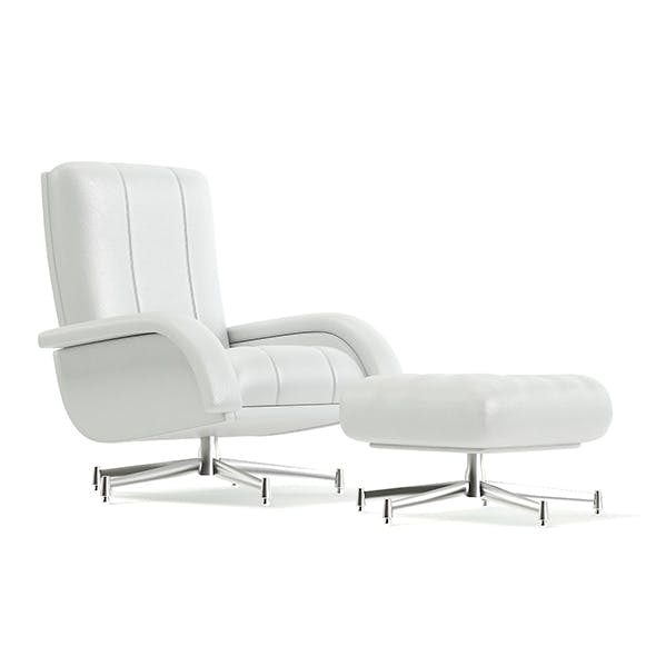 White Leather Swivel Chair with a Stool 3D Model - 3DOcean Item for Sale