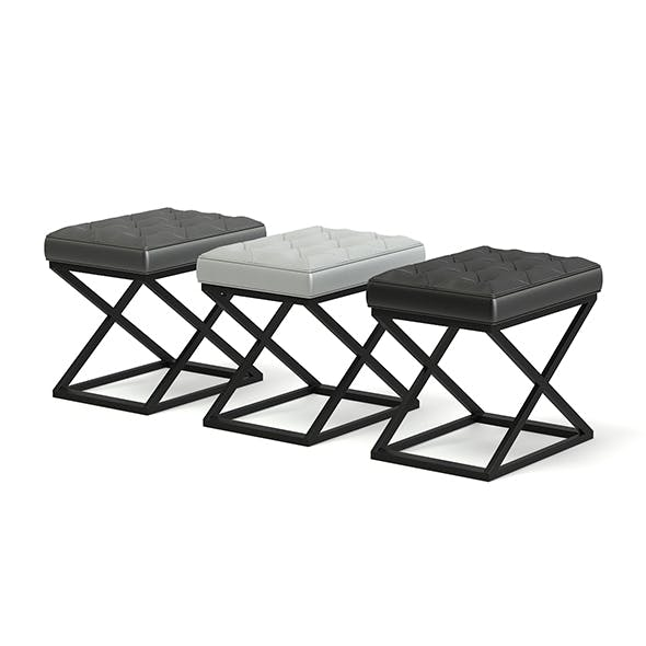 Three Leather Stools 3D Model - 3DOcean Item for Sale