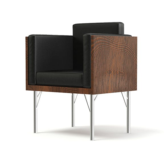 Black Leather Armchair with Wooden Sides 3D Model - 3DOcean Item for Sale