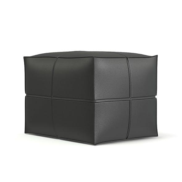 Grey Leather Pouf 3D Model - 3DOcean Item for Sale