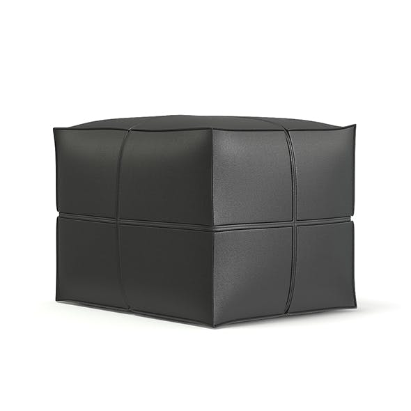 Grey Leather Pouf 3D Model