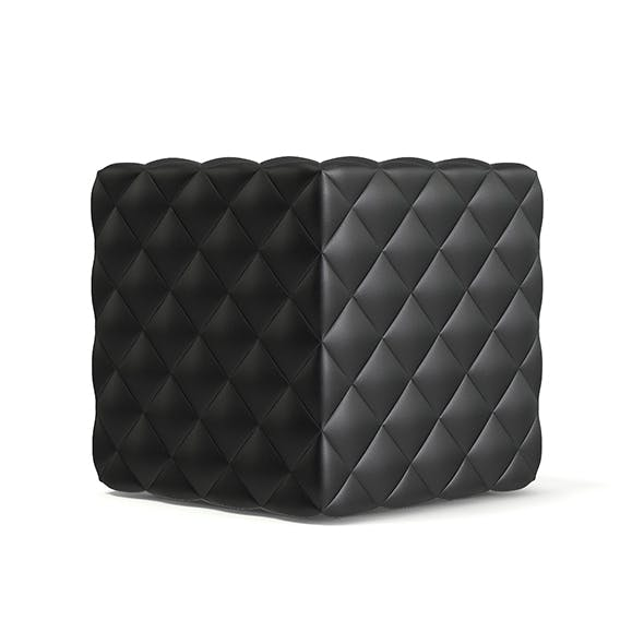 Black Leather Cube Pouf 3D Model - 3DOcean Item for Sale