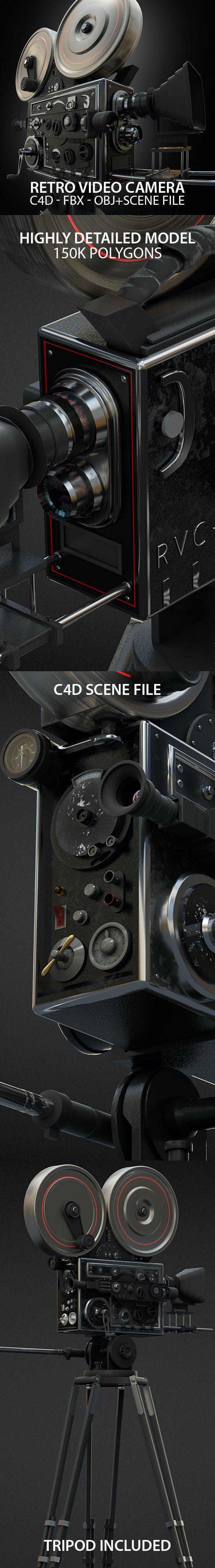 Vintage Video Camera 3D Model with Scene File - 3DOcean Item for Sale