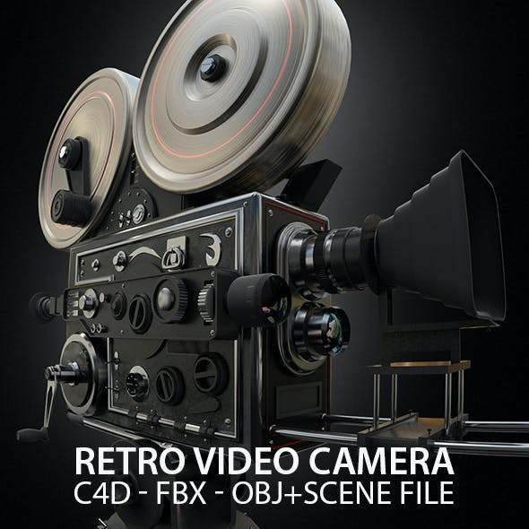 Vintage Video Camera 3D Model with Scene File