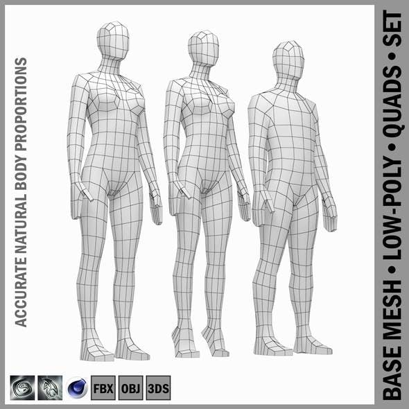 Male and Female Low Poly Base Mesh in Rest Pose - 3DOcean Item for Sale