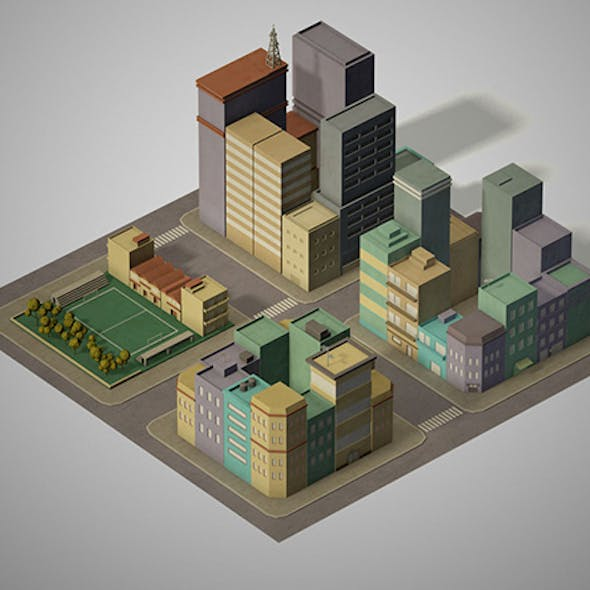 Lowpoly pack of 4 city blocks