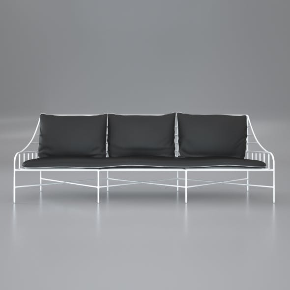 Breton White Metal Sofa - 3DOcean Item for Sale