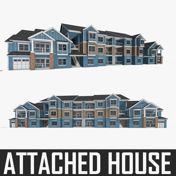 Attached House - 3DOcean Item for Sale
