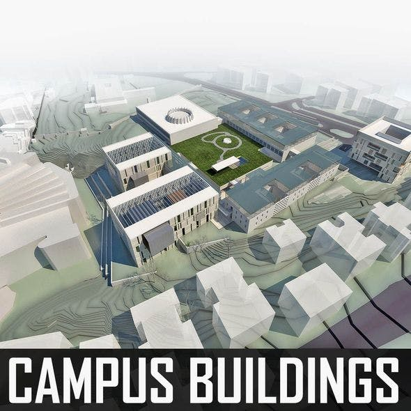 Campus Buildings Set 01 - 3DOcean Item for Sale