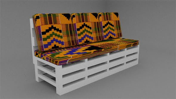 Wooden  three seater sofa with Ghanaian Kante Fabric - 3DOcean Item for Sale