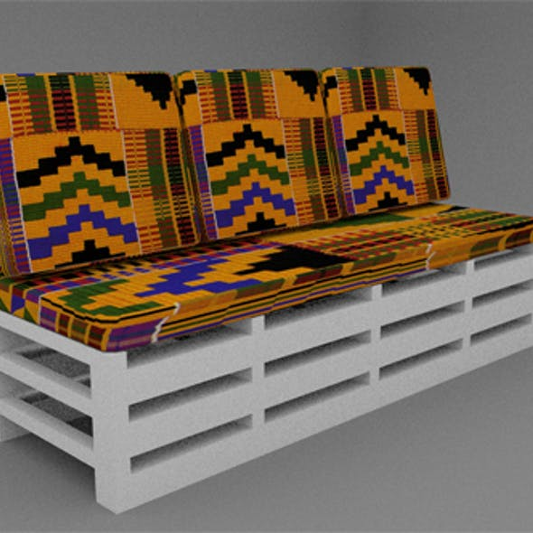 Wooden  three seater sofa with Ghanaian Kante Fabric