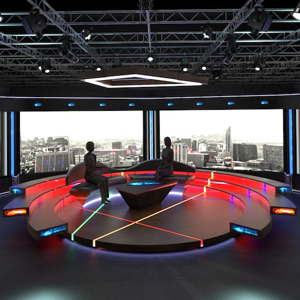 Virtual TV Studio Chat Set 2
