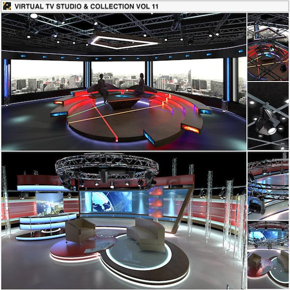 Virtual TV Studio Chat Sets Collection 11 - 3DOcean Item for Sale