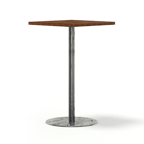 Square Wood and Metal Table 3D Model - 3DOcean Item for Sale