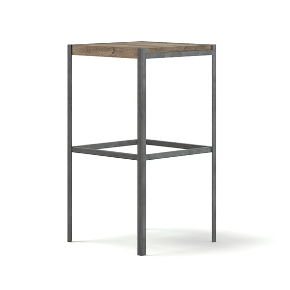 Tall Wood and Metal Stool 3D Model - 3DOcean Item for Sale