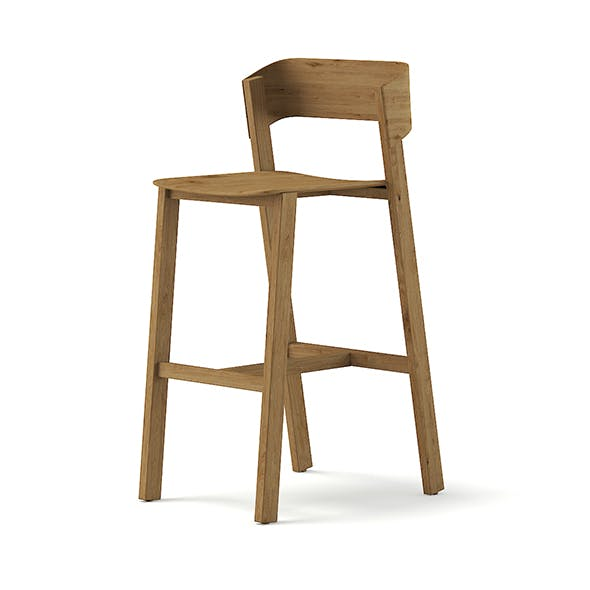Tall Wooden Chair 3D Model - 3DOcean Item for Sale