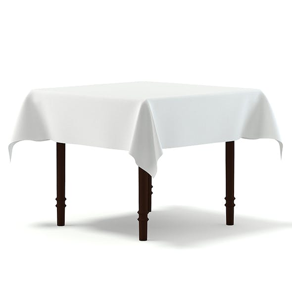 Classic Table with a Tablecloth 3D Model