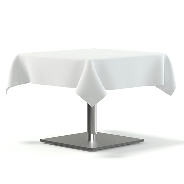 Metal Table with a Tablecloth 3D Model