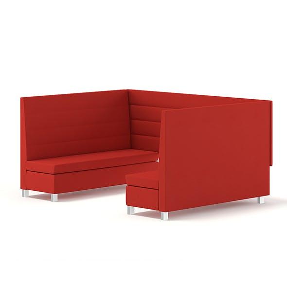 Red Restaurant Sofas 3D Model