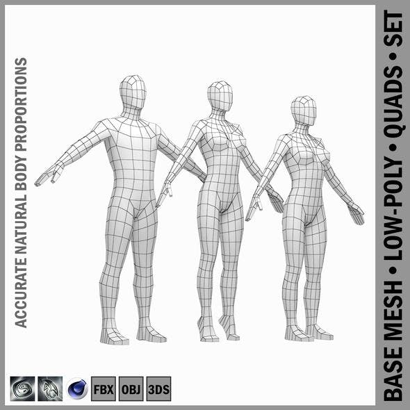 Male and Female Low Poly Base Mesh in A-Pose