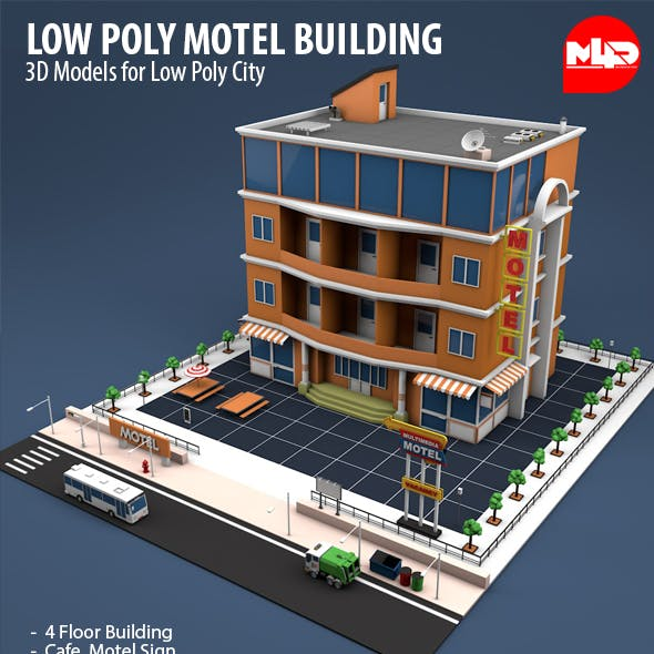 Low Poly Motel Building - HOTEL