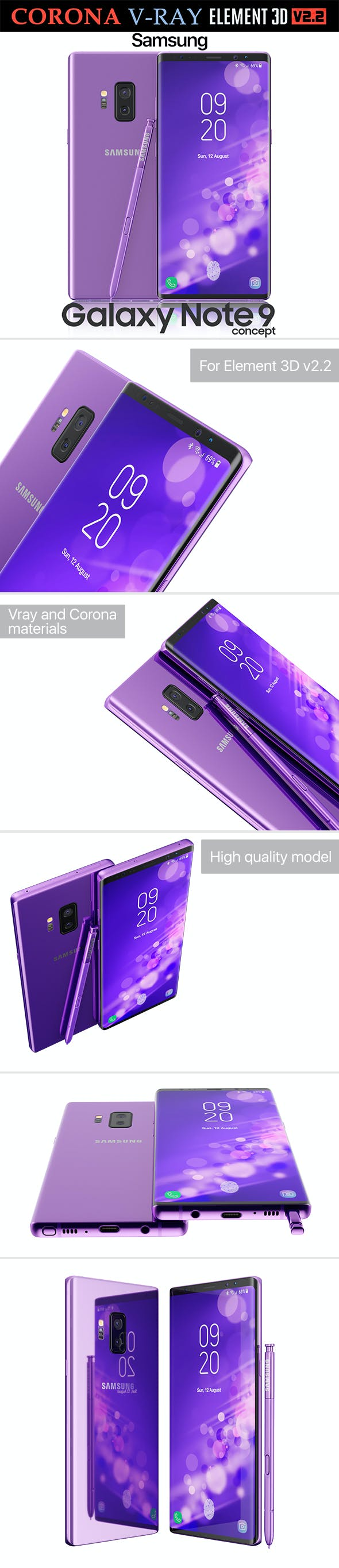 Samsung Galaxy Note 9 Purple Concept - 3DOcean Item for Sale