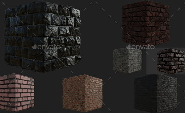 Brick Wall Materials - 3DOcean Item for Sale