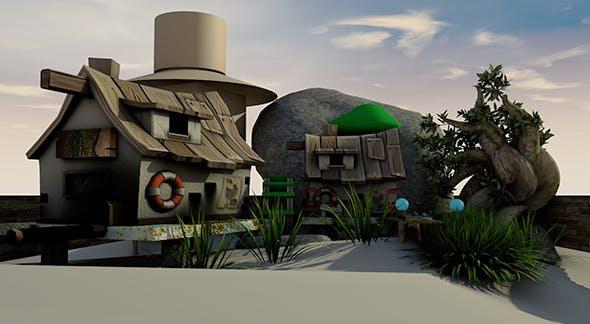 3D Carton house scene. - 3DOcean Item for Sale