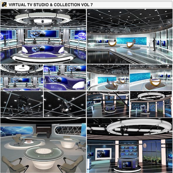 Virtual TV Studio News Sets Collection 7 - 3DOcean Item for Sale
