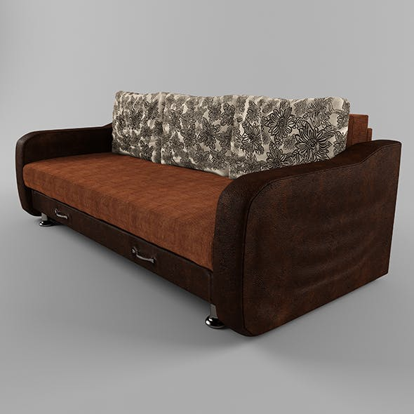 Sofa with leather armrests - 3DOcean Item for Sale