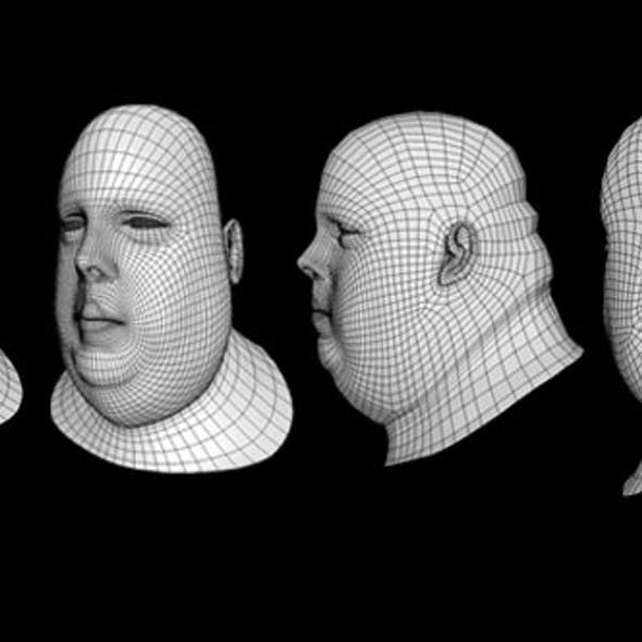Human Head Fat Male Low Poly Base Mesh