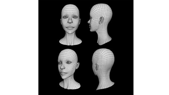 Human Female Head Low Poly Base Mesh - 3DOcean Item for Sale