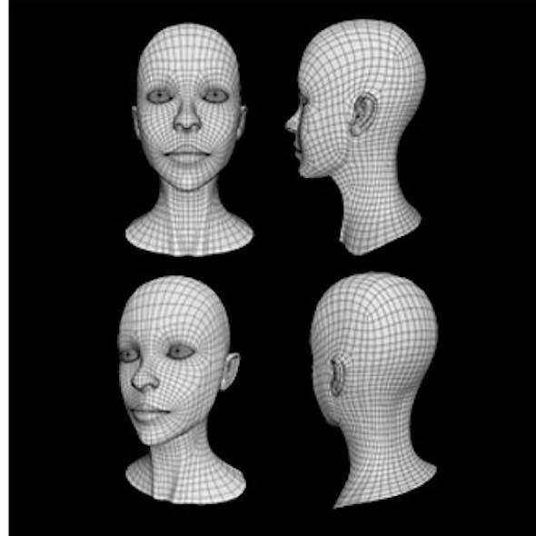 Human Female Head Low Poly Base Mesh