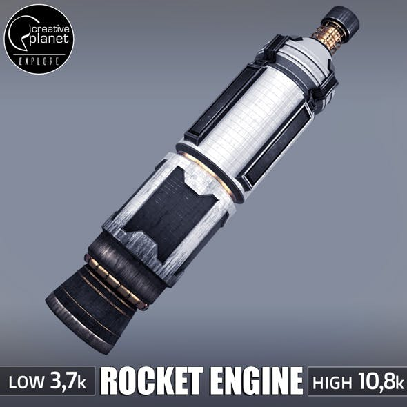 Rocket space small engine low poly - 3DOcean Item for Sale